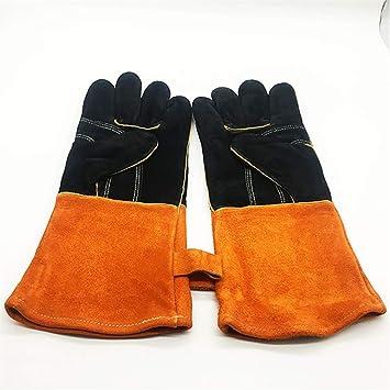 Calor Resistente al fuego Seguridad Guantes de trabajo Soldadura multifuncional Guantes de soldadura MIG TIG ARC MMA Mitones de cuero para horno Parrilla ...