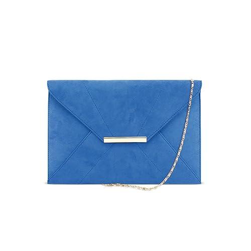 DSUK 1943 Cartera de Mano Azul, Bolso de noche del embrague del sobre de las