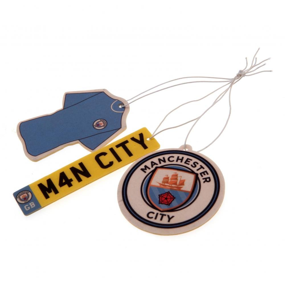 Manchester City FC Air Fresheners (Pack Of 3) (One Size) (Multicolored)