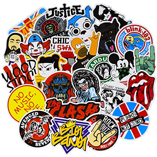 (Band Stickers for Water Bottle[60pcs] Rock Roll Punk Music Vinyl Decals for Laptop Phone Hydro Flask Car Computer Guitar Piano Violin Drum Brass Skateboard Luggage PC Journal Bike Bumper Waterproof)