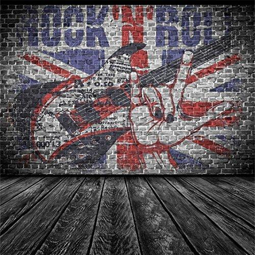 AOFOTO 7x7ft Rock Music Guitar Graffiti Brick Wall Photography Backdrop Punk Band Background Vintage Nostalgia Photo Studio Props Fashion Stylish Youngster Boy Girl Adult Man Portrait Vinyl Wallpaper from AOFOTO