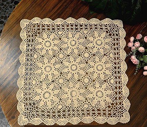 Crochet Placemat (Laivigo Handmade Crochet Cotton Lace Tablecloth Placemats Doilies Doily Square,23 Inch,Beige)