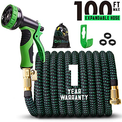 100ft Expandable Garden Hose,100 Feet Expanding Hoses Extra Strength 3750D Outdoor Flexible Hose Lightweight Yard Hose,Water Hose with Solid Brass Fittings Durable Spray Pattern Nozzle [2019 UPGRADED]