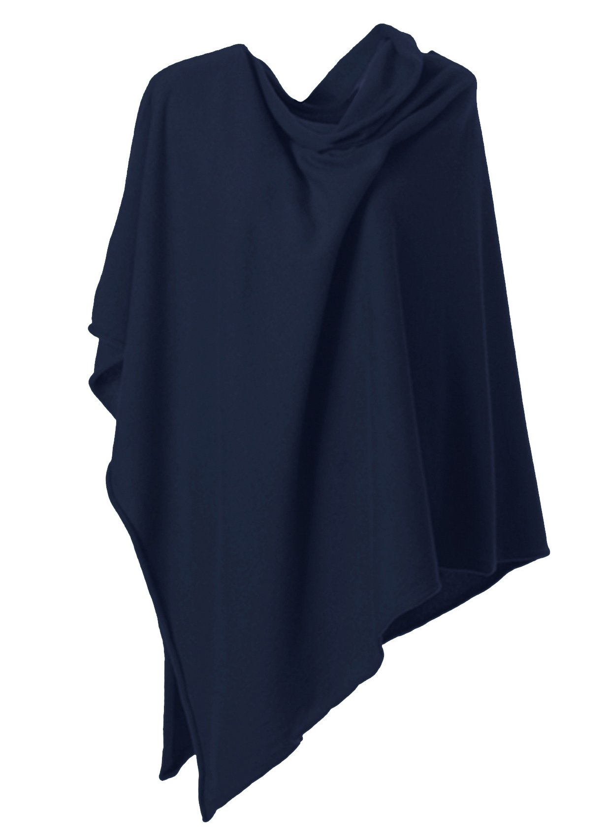 Anna Kristine Asymmetrical 100% Cashmere Draped Poncho Dress Topper - Denim