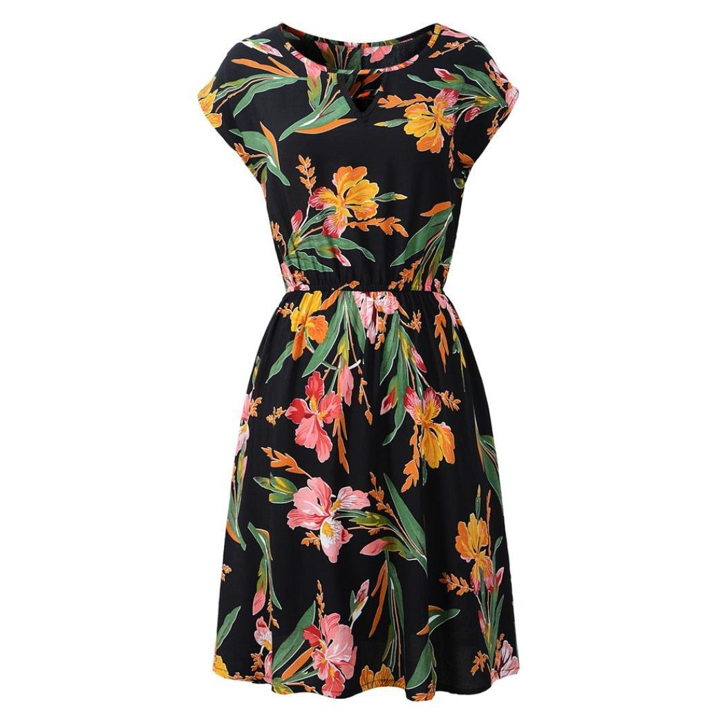 ESAILQ Damen V-Ausschnitt Urlaub Kleid Damen Sommer Blumendruck Beach Party Minikleid