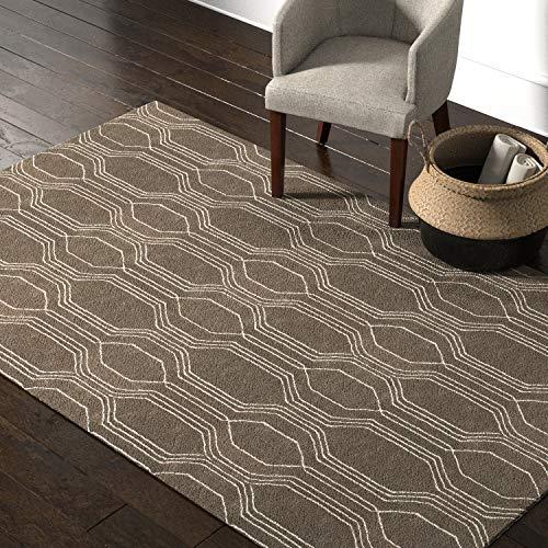 Rivet Steel Slanted Lines Wool Modern Area Rug, 5 x 8 Foot