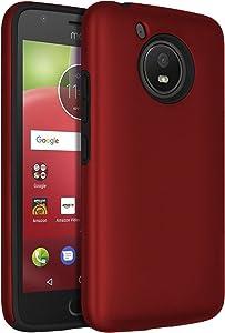 SENON Moto E4 Case, Slim-fit Shockproof Anti-Scratch Anti-Fingerprint Protective Case Cover for Motorola Moto E4 / Moto E 4th Generation,Red