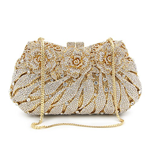Flower Rhinestones Flada Silver Party Gold Evening Clutches Handbag Girl's Bags Wedding Purse For qfwH5A