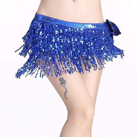 chenpaif Traje para Danza del Vientre para Mujer Cinturón de Borla 3 Filas Tiras Cadera Bufanda Lentejuelas Rectángulo 7# Azul Real