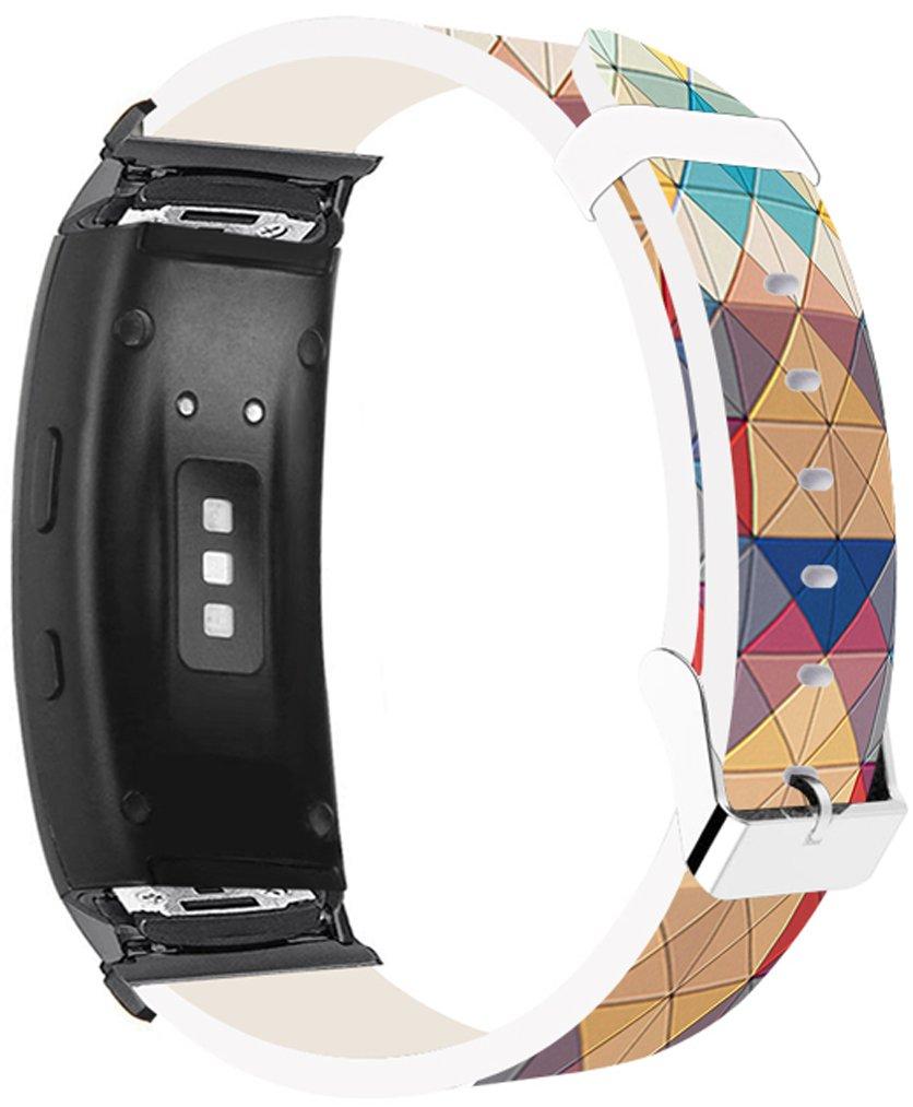 Samsung Galaxy Gear fit2バンドレザー交換 – Samsung Galaxy Gear Fit 2ストラップブラックコネクタ美しいカラフルなクリエイティブPersonalizedフラワーパターン GEAR-Fit2-20mm (5)  S-5 B077G9RKRK