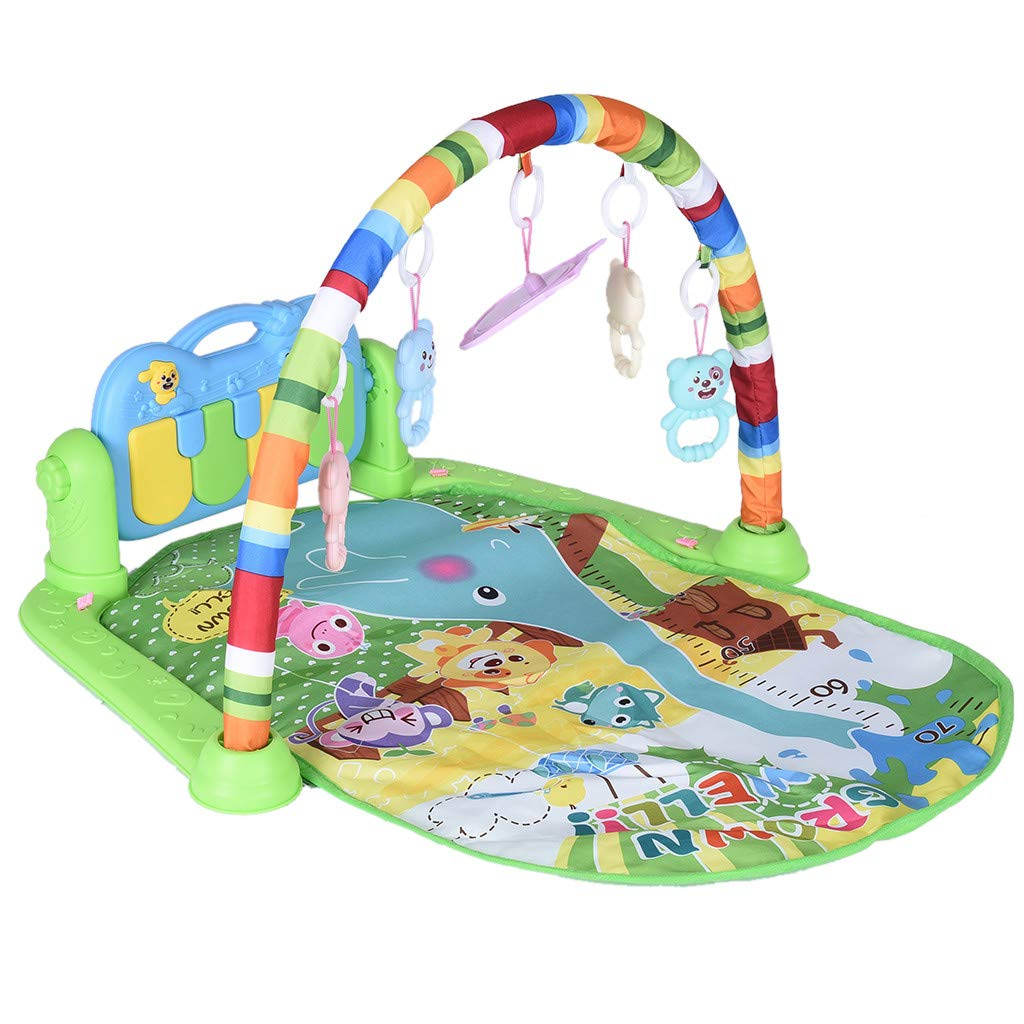Outeck Baby Game Pad Newborn Musical Toy Large Baby Game Pad Music Pedal Piano Music Fitness Rack Crawling Mat Education Blanket Activity Fitness Toy Kick Piano Light Sound Music Toys by Outeck
