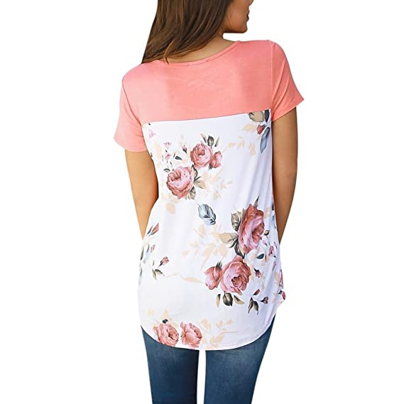 Amazon.com: DondPO Women Short Sleeve T Shirts Flower Printed Blouse Casual Summer Loose Tops: Clothing