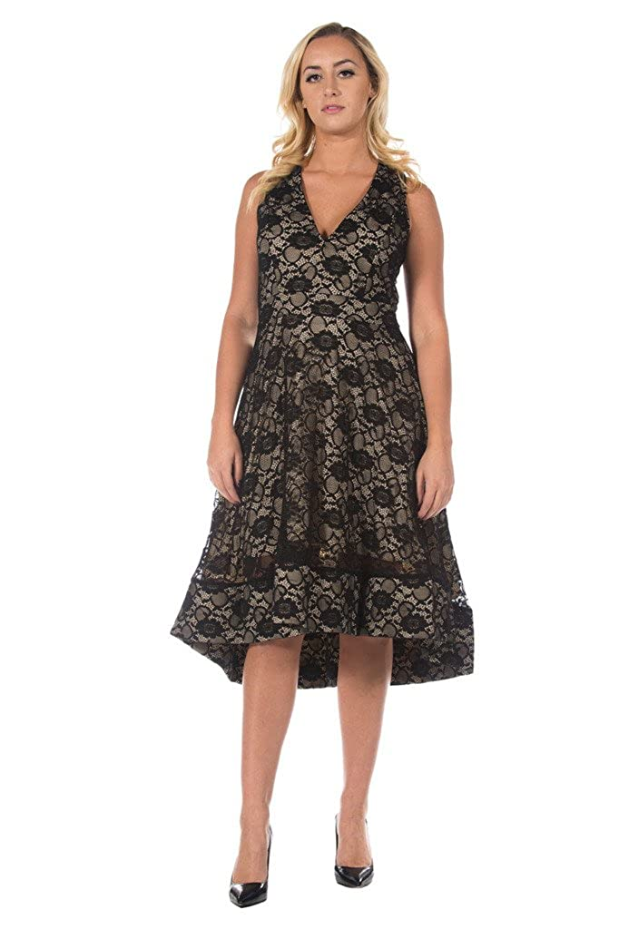 Rogue Finery Womens Plus Black Lace Fit And Flare Tea Length Full