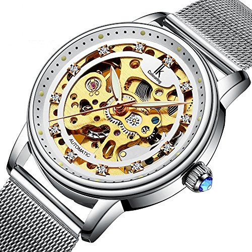 Bestn Wristwatches Women's Skeleton Crystal Auto Mechanical Silver Mash Band Watch
