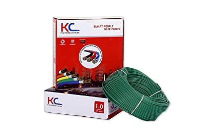 KC Cab PVC Insulated Single Core Flexible Copper Wires and Cables for Domestic/Industrial Electric Wire (Green, 1 sq mm/90 m Coil)