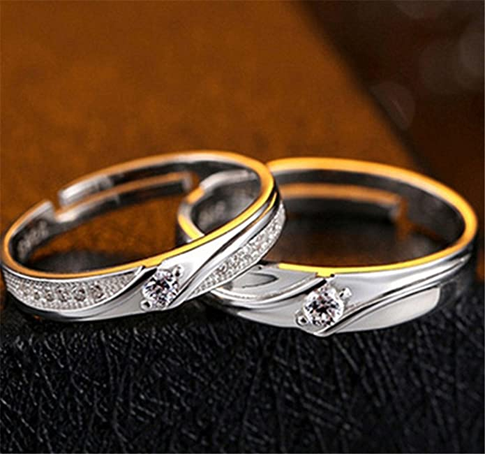 Wansan Couple Ring Crystal Silver Lover Adjustable Rings for Wedding Anniversary Emgagement Valentines Day