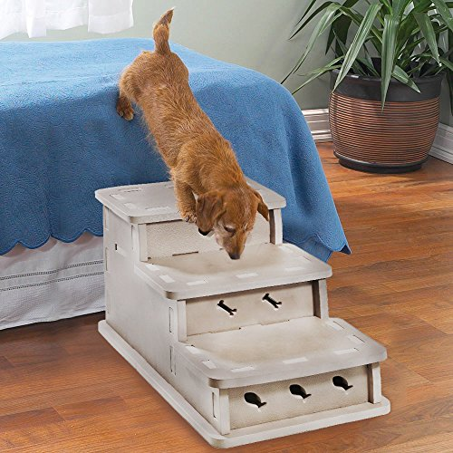 Clevr Interlocking Foam Pet Stairs & Playhouse 3-step Portable Steps Cream