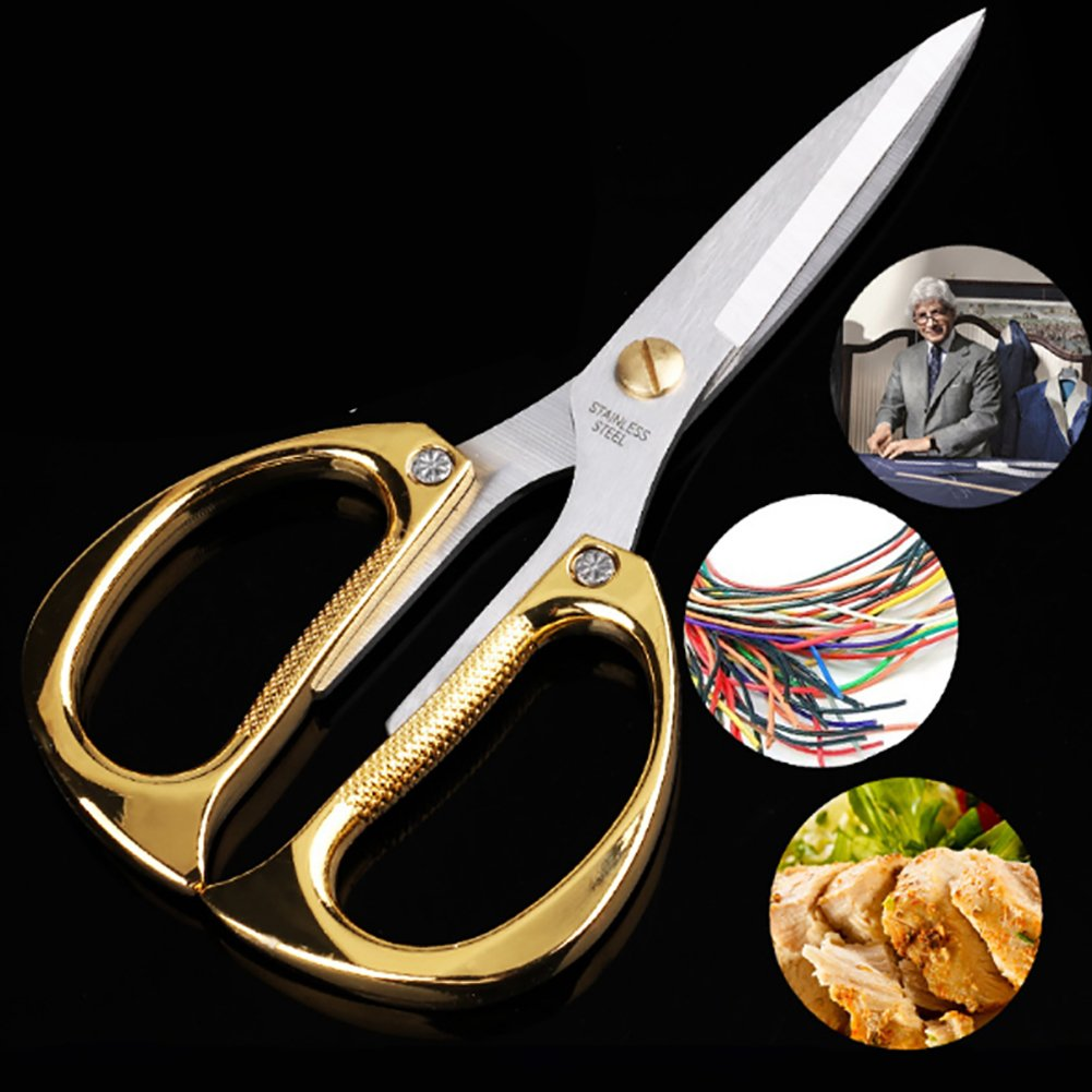 Multi-purpose Kitchen Shears Scissors, Heavy Duty Stainless Steel Scissors with Strong Straight Edge Snips (Gold)