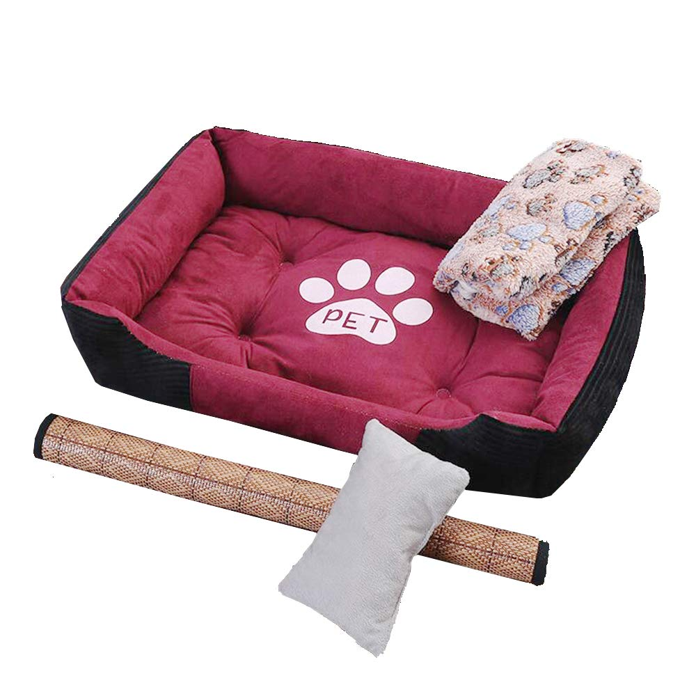 90  70Cm, Dog Pet Mat, Large and Medium-Sized Summer Nest, Small Dog Four Seasons Universal Kennel (Red) @ Y.T