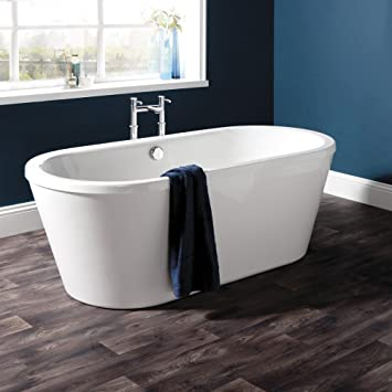 baignoire ilot sabot pose libre 1740x800x620mm contenance 230 litres design moderne meuble de salle de - Pose Baignoire Acrylique Avec Tablier