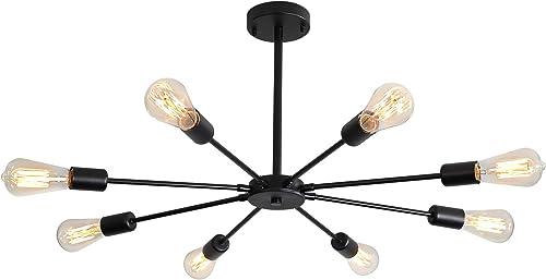 XIPUDA 8-Light Sputnik Chandeliers Modern Pendant Light Fixture Oil Rubbed Black Mid Century Ceiling Light for Home Office Store