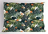 Ambesonne Hawaii Pillow Sham, Colorful Palm Trees Tropical Plants with Botanical Inspirations, Decorative Standard King Size Printed Pillowcase, 36 X 20 inches, Fern Green Jade Green Orange