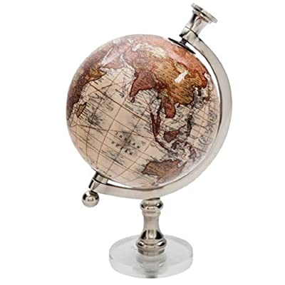Molded Globe On Round Acrylic Bases 5 Inch Diameter 9 Inches Tall (Tan): Office Products