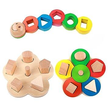 Forma Educativos De Madera De Color Reconocimiento Geometrico Pila