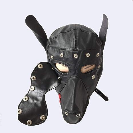 PJOS8E Máscara para Perros Capucha de Cuero Sexy, Arnés para la ...