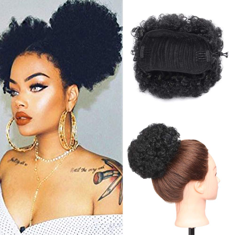 Amazon Com Curly Afro Puff Drawstring Ponytail Synthetic Hair Short Kinky Curly Hair Bun For African American Women Updo Hair Wrap With Combs 1 Black Beauty