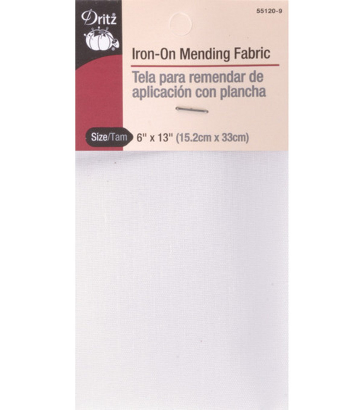 Dritz 55120-9 Iron-On Mending Fabric, White, 6 by 13-Inch (2 Pack)
