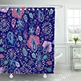 Emvency Shower Curtain Waterproof Adjustable Polyester Fabric Paisley Floral Pattern Moroccan Carpet Turkish Japanese Indonesia Flower Flor 60 x 72 Inches Set With Hooks For Bathroom
