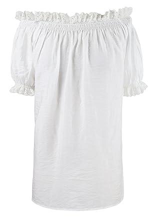 1b0256d818d02 Charmian Women s Cotton Off Shoulder Short Sleeves Peasant Tops Blouse Shirt  White Medium