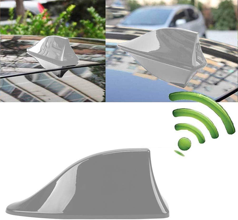 Universal Shark Fin Car Antenna Roof Aerial Roof Antenna Shark Fin Roof Antenna Aerial with Adhesive Base Waterproof Gray INTVN Car Vehicle Shark Fin