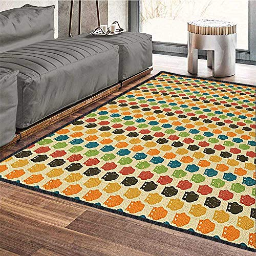 Owls Natural Fiber Area Rug,Retro Styled Colorful Animal Silhouettes with Grunge Display Halloween Inspirations Suitable for Children to Play Multicolor 71
