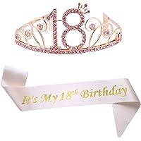 18th Birthday Pink Tiara and Pink Sash Glitter Satin Sash and Crystal Rhinestone Tiara Crown for Happy 18th Birthday…