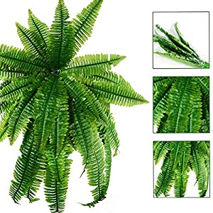 31.5'' Artificial Boston Fern Fake Grass Leaves Plant Greenery Outside Planter for Home Indoor Garden Office Party Decor 2