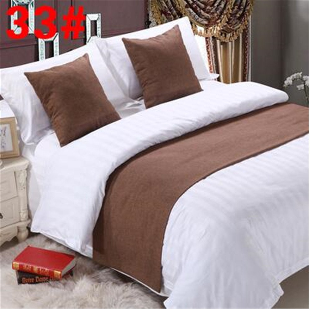 Bed Runner Brown 3 Pcs Set, Luxury Bedding Scarf Pad Decorative Table Runner Bed Protector Slip Cover for Pets, 1 Bed Runner + 2 Cushion Cover, 102 Inches By 19 Inches CHINA