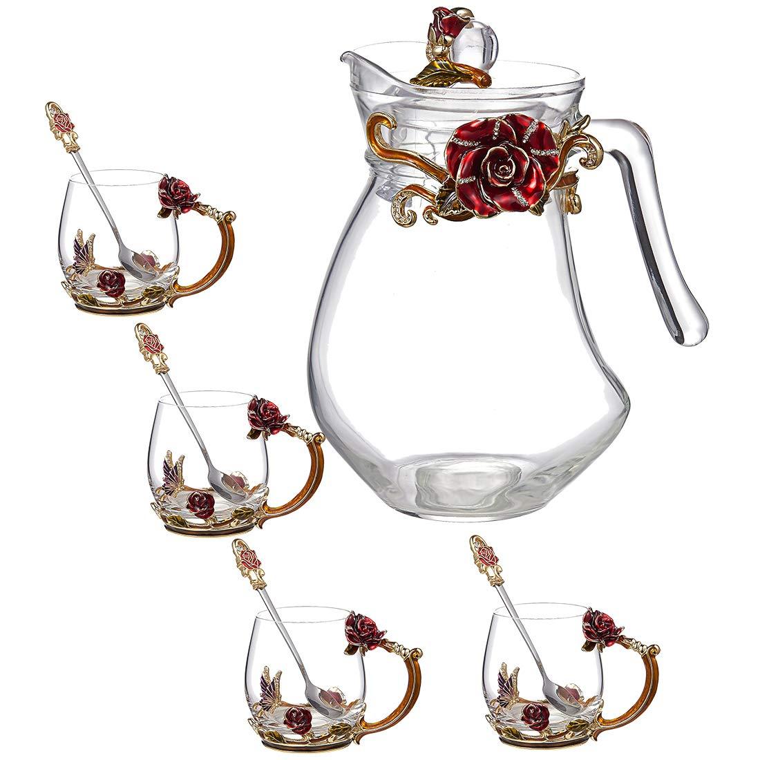 Tea Mug Set of 5, Crystal Tea Cup Coffee Mug Set 4x 11oz Tea Mugs 1x 45oz Water Kettle with Enamels