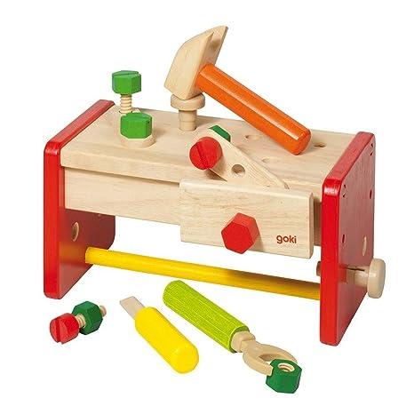 Holzspielzeug Motorikspielzeug Blue Ribbon Holzspielzeug Werkbank Werkzeug Schrauben