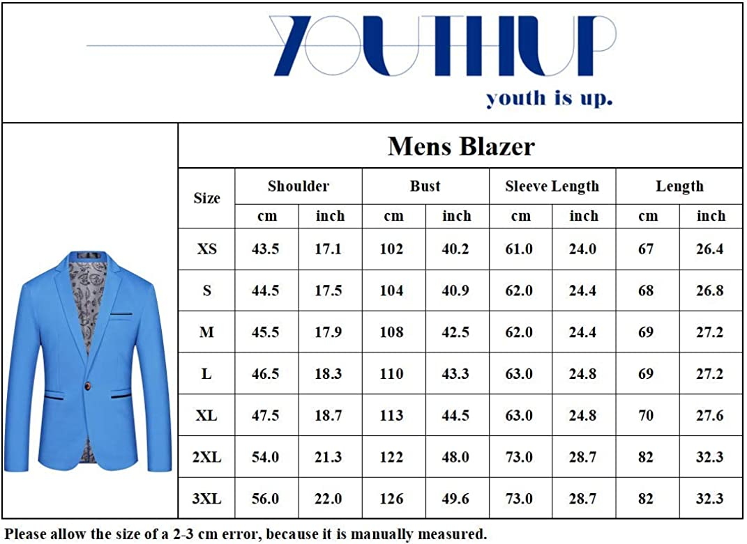 Mens Blazers Single Breasted Slim Fit Suit Jacket Solid 1 Button Casual Blazer