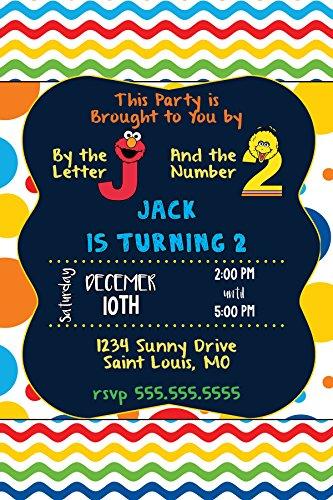 Custom Invitation - Sesame Street, Elmo, Big Bird, Primary Colors, Birthday, (Custom Birthday Invitation)