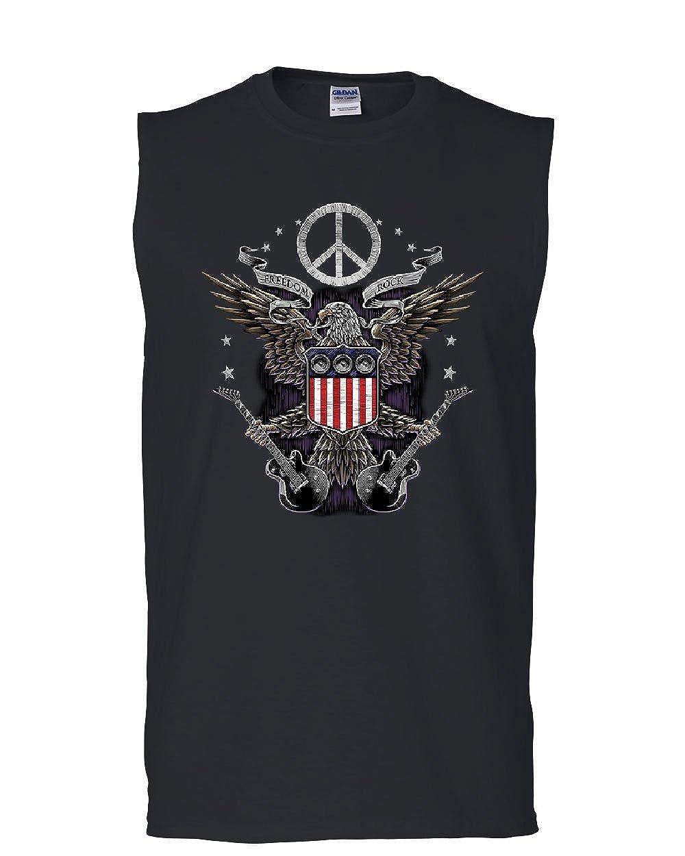 Tee Hunt Freedom Rock Muscle Shirt Peace American Flag Bald Eagle 4th of July Sleeveless