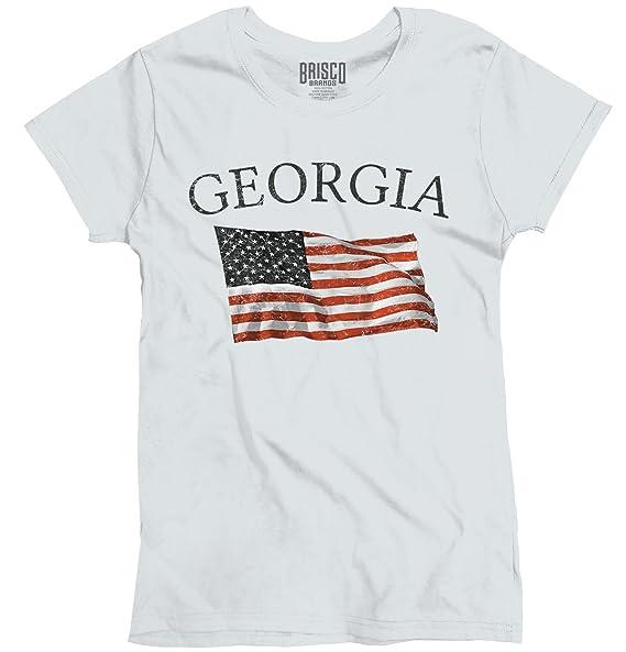 b0fb102e90f Womens Graphic T Shirts Georgia Patriotic Home State American USA Flag White