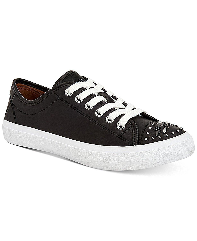 Coach Womens Elle Low Top Lace Up Fashion Sneakers, Black/Black, Size 6.5
