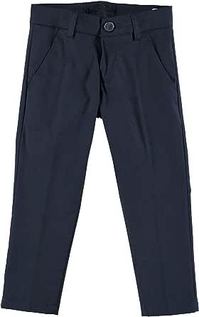 MANUELL&FRANK Pantalón elegante largo de algodón azul noche con bolsillos de hilo niño MF1050B