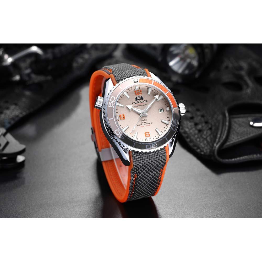 Män automatisk självvind mekanisk kanvas gummiband stil orange blå röd roterbar bezel klocka b