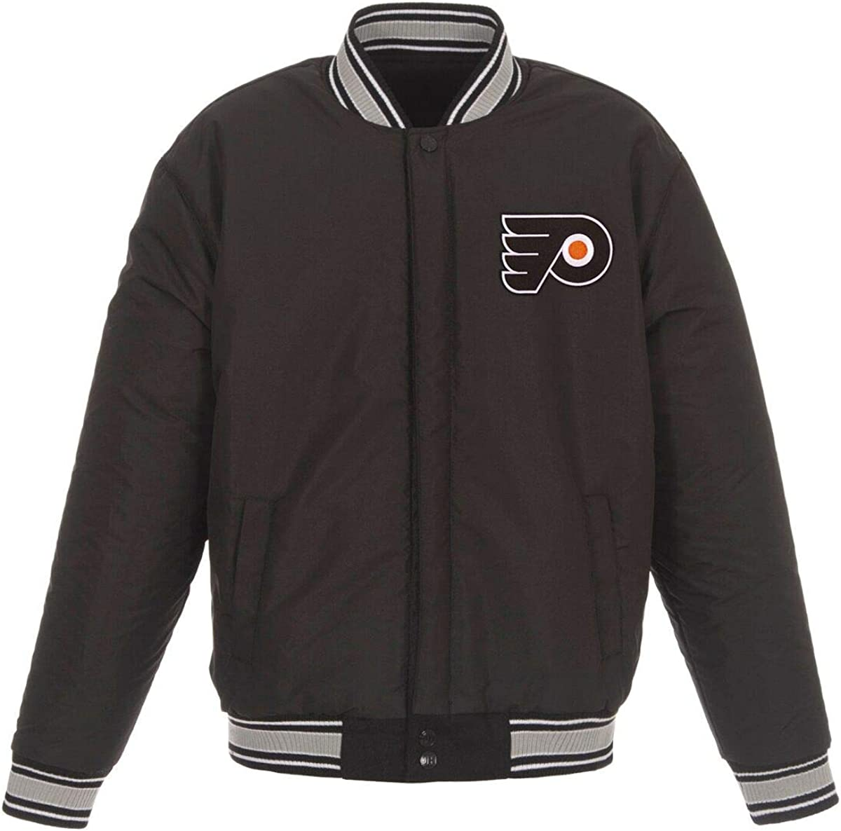 J.H Design Philadelphia Flyers NHL Black Gray Wool Reversible Full Snap Jacket