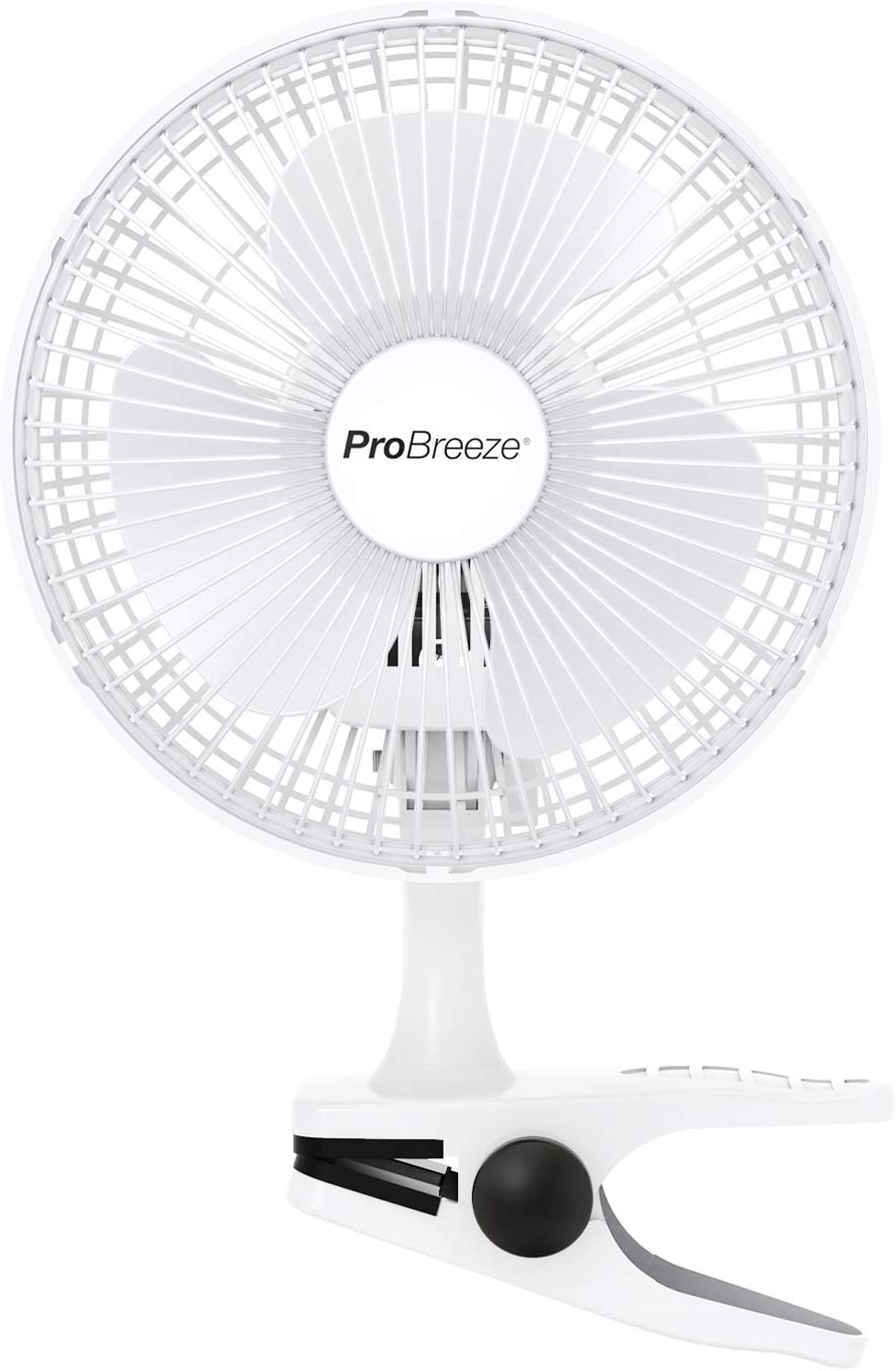 Pro Breeze Mini Ventilador de Sopremesa con Clip I Pequeño Ventilador Eléctrico con Funcionamiento Ultra silencioso y 2 Configuraciones de Velocidad I 15W. para Hogar, Cama, Oficina y Escritorio.