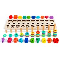 D-FantiX Math Blocks, Shape Sorter Wooden Stacking Toys Ring Counting Number Stacker for Toddlers Puzzle Board Game Math…